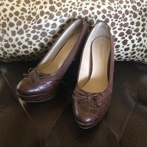 Brown Nine West Platform Heels